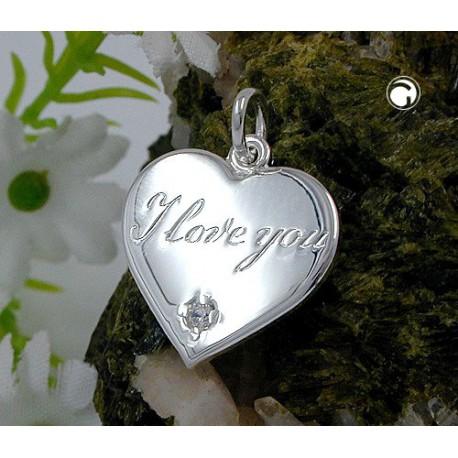 Pendentif Argent 925 Coeur I LOVE YOU
