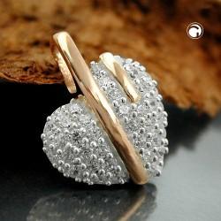 Pendentif coeur en argent avec zirconia