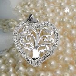 Pendentif coeur avec arbre de vie en argent