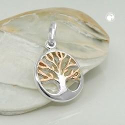 Pendentif arbre de vie en argent bicolore