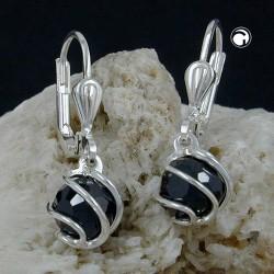 Boucle d'oreille en argent avec une boule oxyde de zirconium noire