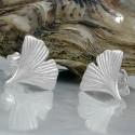 Boucles d'oreilles feuille de ginko en argent